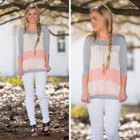 Color Block Lace Sleeve Shirt
