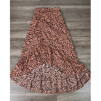 Animal Print Side Ruched Maxi Skirt in Rust