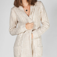 Full Tilt Womens Cable Knit Cardigan Oatmeal  In Sizes