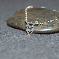 dainty triangle necklace, silver chevron necklace, small arrow necklace, sterling silver geometric necklace, triple triangle necklace