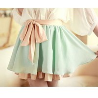 Mixing Color Shirred Bubble Skirt