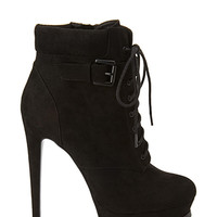 FOREVER 21 Platform Lace-Up Booties