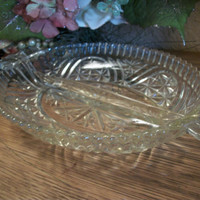 Vintage Pressed Glass Divided Dish Candy Nut Relish Serving Tableware Anchor Hocking Starts and Bars Saw Tooth Edge Handled Platter