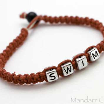 CLEARANCE SALE - 7 inch Swim Bracelet for Fitness Motivation, Swim Team Coach Gift, Ready to Ship