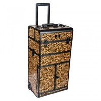 REBEL Series Pro Makeup Artists Rolling Train Case Trolley Case - Spring Cheetah - TRAIN CASES