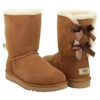 Tagre UGG Fashion Women Bow Flats Leather Boots In Tube Boots Shoes