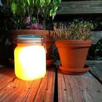 Solar Mason Jar with Yellow Glow and Color Change Option - Recharges From the Sun: Patio, Lawn & Garden