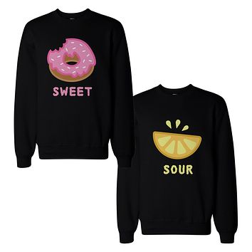 Cute Sweet and Sour Funny BFF Matching Couple SweatShirts for Best Friend