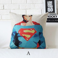 "Cotton/Linen Cushion Cover Shell Throw Pillow Scatter Cushion Case abstract Geometry superman American hero  1 pc 18"" x 18"" = 1946074820"