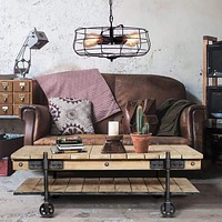 """47"""" Plank Style Coffee Table with Bottom Shelf and Casters, Brown and Black By The Urban Port"""