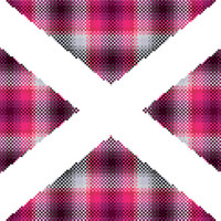 Bright pink, grey and black geometric tartan cross stitch pattern. Modern cross stitch based on the Scottish flag. Contemporary design.