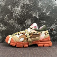 Gucci Flashtrek Leather Sneaker With Crystals Pink - Best Online Sale