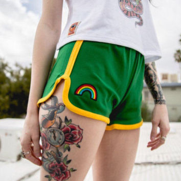 Green 70s High Waisted Track Shorts with rainbow patch   kelly green and gold jogging running 1970s true vintage basketball gym shorts 80s