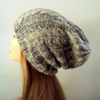 Slouchy Beanie Cable Knit Taupe Hat Women's Chunky Hat Wool Winter Hat Men Women Clothing Fashion Accessories Christmas Gift Ideas