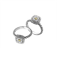 "ARG-9074-DY-8"" Sterling Silver Ring With 18K Gold And Diamond"