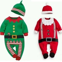 Baby Christmas Clothes Outfits Boy Girl Kids Romper Hat Cap Set Gift 0-24Months [8833446412]