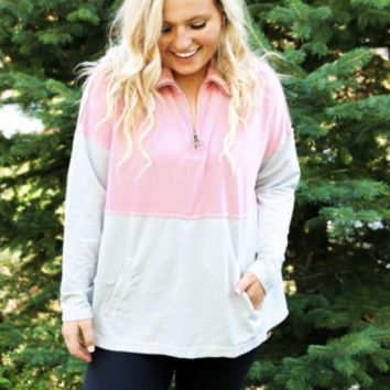Jadelynn Brooke: Grey/Rose Burn Out Zip Pullover