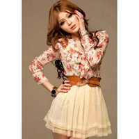 Floral Printed Mini Dress With Belt