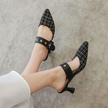 Pointed Toe Buckle Women High Heel Chunky Sandals