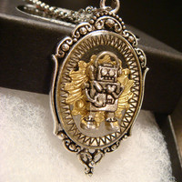 Clockwork Robot Steampunk Style Pendant Necklace  (1923)
