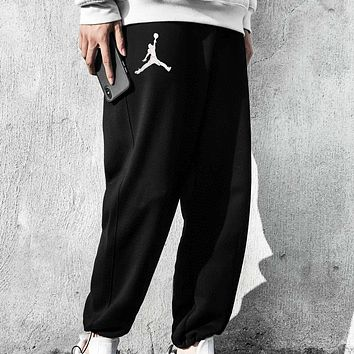 Jordan New fashion embroidery people couple pants Black