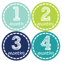 Baby Boy Monthly Milestone Stickers Style #113