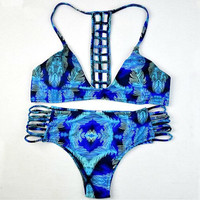 Peacock Feathers Strappy Bathing Suits