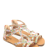 Qupid Spring Floral Woven Sandals
