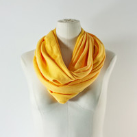 SUNFLOWER YELLOW Infinity Scarf - Gold Eternity Scarf - Yellow Loop Scarf - Snood - Lightweight