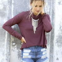 Close Call Light Acid Wash Burgundy Turtleneck Long Sleeve Crop Top