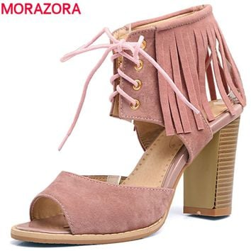 MORAZORA 2017 Large size 34-48 hot sale new arrive summer shoes woman high heels sandals women shoes gladiator party flock