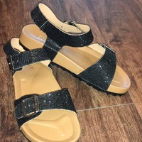 Two Way Street Black Sparkly Sandals