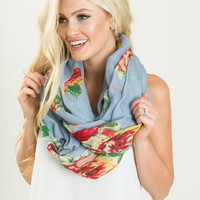 Helen Blue Floral Infinity Scarf