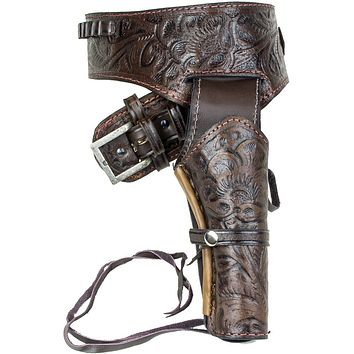 Deluxe Tooled Antiqued Brown Leather Western Holster - XL