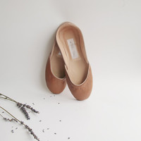 Soft leather ballet flats Nocciola by thewhiteribbon on Etsy