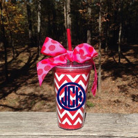 Personalized/Monogrammed Red Chevron Tumbler