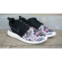 New Nike Roshe Run Custom Gray Red Black Tribal Aztec Edition Mens Shoes Sizes 8 - 15