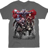 Marvel Comics Lightning Storm Marvel Team Ups Charcoal Adult T-shirt