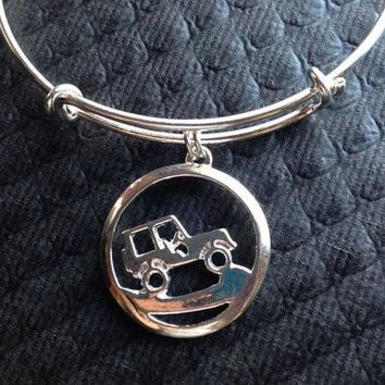 Its a Jeep Thing Charm on an Adjustable Expandable Silver Plated Bangle Bracelet One Size Fits Most