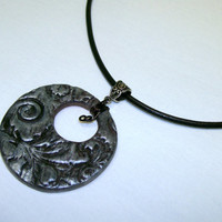 Silver and Black Brighton Look Floral Aromatherapy Clay Pendant Womens Handmade OOAK Essential Oil Perfume Diffuser Necklace on Leather Cord