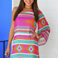 Aztec Pop Dress: Fuschia/Multi | Hope's