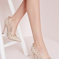 Missguided - Patent Studded Court Shoes Nude