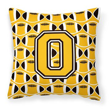 Letter O Football Black, Old Gold and White Fabric Decorative Pillow CJ1080-OPW1414