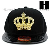 NEW URBAN HIP HOP RAPPER SHINY GOLD CROWN FLAT BILL SNAPBACK GOLD BLACK HAT CAP