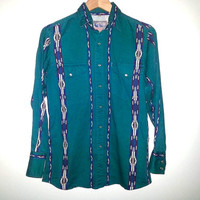 Vintage Long Sleeve Shirt Button Up Western South West Southwestern Navajo Aztec Color Green Size Mens Small