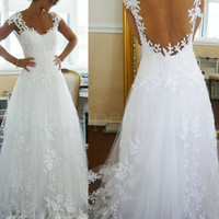 Fascinating Ball Gown Straps Sweep Train Lace prom / Wedding Dress