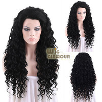 "Long Spiral Curly 26"" Jet Black Lace Front Wig Heat Resistant"