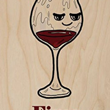 'Red Wine Fixes Everything' Food Humor Cartoon - Plywood Wood Print Poster Wall Art