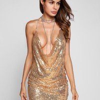 Sexy Deep V-Neck Low Cut Bodycon Sequined Dress Hollow Out Backless Metal Halter Off Shoulder Birthday Party Mini Dress