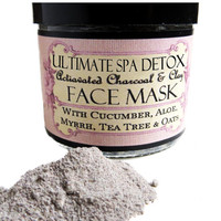 ULTIMATE Spa DETOX Cleansing Grains and  Facial MASK with Activated Charcoal, Rhassoul Clay, Myrrh, Aloe, Cuccumber, Tea Tree